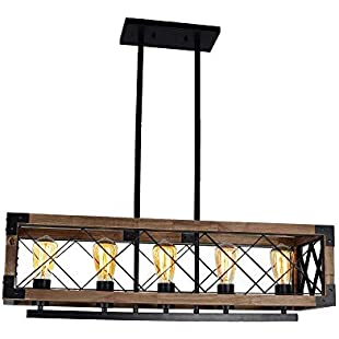 GENGJ Retro Industrial Boat Wood LED Chandelier, Personality Nostalgic Bar Clothing Store Restaurant Wooden Lighting, 5XE27 Lamp Head Height Adjustable [Size 80X20cm]:Eventmanager