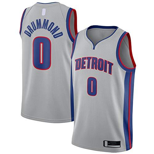 OYFFL Andre Top Sin Mangas Drummond Outdoor Detroit Camiseta de Baloncesto Pistones Deportes #0 Swingman Jersey Plata - Declaración Edición-XXL