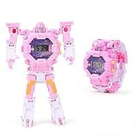 変形腕時計の漫画のアイデアのおもちゃの子供の電子時計の小さい贈り物 (ピンク)