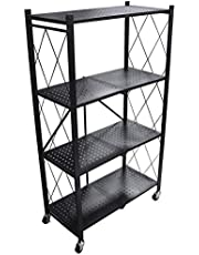 4 Tier Foldable Storage Shelf Unit with Wheel, Heavy Duty Storage Shelving Unit for Kitchen, Garage and Laundry Bathroom Tool Organization, Black