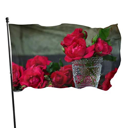 N/A Vlag 3x5 FtFresh Rode Rozen In Een Vaas, Enkelzijdige Tuinvlaggen voor Binnen Buiten Gebruik UV Beschermd