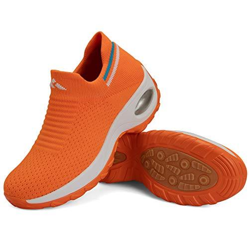 Zapatillas Deporte Mujer Zapatos para Andar Transpirable Mesh Bambas Correr Caminar Calzado Trabajo Naranja E, Gr.37 EU