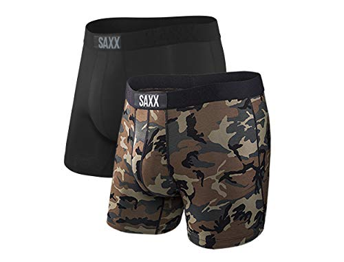 SAXX Underwear Men's Boxer Briefs – VIBE Men's Underwear – Boxer Briefs with Built-In BallPark Pouch Support – Boxer Briefs, Pack of 2,Black/Wood Camo,Medium