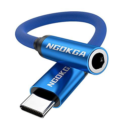 Adattatore jack AUX da USB-C a 3,5 mm il cavo adattatore audio per cuffie è adatto per Samsung S20 10 21 Note10 20 A8S A80 Huawei P50 P40 P30 P20 Pro Mate 30 20 40 Pro nova 5 (Blu)