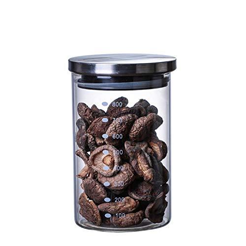 Storage jar glazen potten verzegeld, kleine flesjes keuken glazen container over koffiebonen blikjes melkopslagtank Snacks,800 ml N