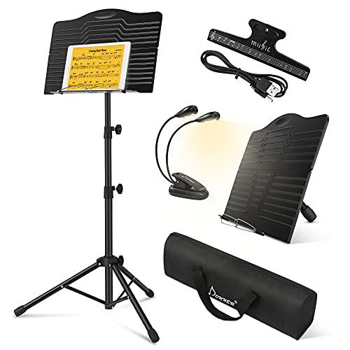 Donner Notenständer Klappbar Stabil DMS-1 Notenpult Notenständer Gitarre Schwarz Metall mit Lampe e Tragetasche, Höhenverstellbar