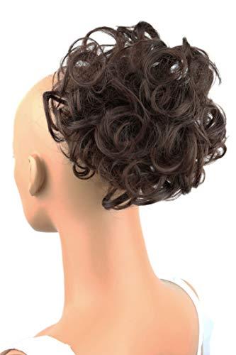PRETTYSHOP Voluminöses DUTT Haarteil gewellt Haarknoten Haargummi Hepburn-Dutt Haarverdichtung divese Farben (dunkelbraun mix #4/30 D18)
