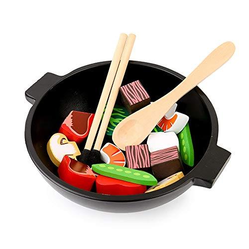 POSH Simulación De Madera Vegetal Hot Pot Wok Kitchen Toy Sushi Platter Play Play House Bebé Debe Ver Que Los Músculos De Las Manos Pequeñas Agarran La Forma Y El Color De Los Objetos De Entrenamiento