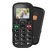 Teléfono móvil para personas mayores sin contrato, teléfono móvil Artfone para personas mayores, con teclas grandes, pantalla a color de 1.77 pulgadas, dual SIM, pensionista (negro)