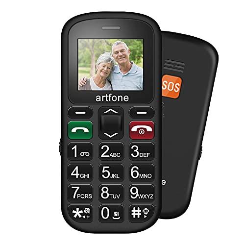 Seniorenhandy ohne Vertrag Artfone Großtastenhandy 1,77 Zoll Farbdisplay Notruftaste Taschenlampe Kamera GSM Dual SIM Rentner Handy