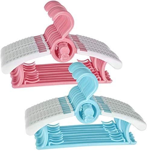 TIMESETL 20er Kleiderbügel Mitwachsend Kinderkleiderbügel, 27-37cm Verstellbar Kleiderbügel Platzsparend mit Stapelbaren Bärchen-Haken rutschfeste Kleiderbügel für Babys und Kleinkinder, Rosa/Blau