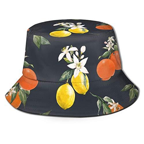 XCNGG Unisex-Adult Fisherman Hat Aquarell Citrus Bucket Hat, Packable Sun Cap, Maximaler Schutz für UVA, Perfekt zum Angeln im Garten Wandern Camping Camping Schwarz One Size