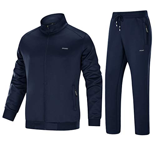 MAGNIVIT Men's Running Tracksuit Athletic Sports Jacket and Pants Set Navy Blue