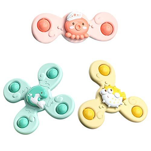 3 juguetes de baño de bebé con ventosa giratoria vida marina de dibujos animados Spinning Copa de succión Spinning Juguetes de baño de bebé Juego de juguete para niños de 1 a 2 a 3 a 4 años