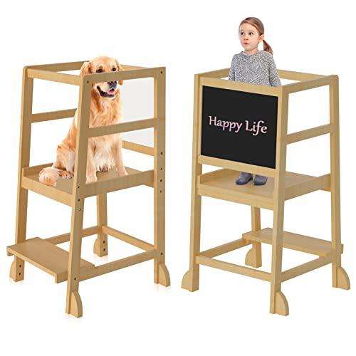 Torre de aprendizaje para niños, con riel de seguridad, con una pizarra, para niños de 18 meses a 3 años de edad, para el aprendizaje de cocina y baño