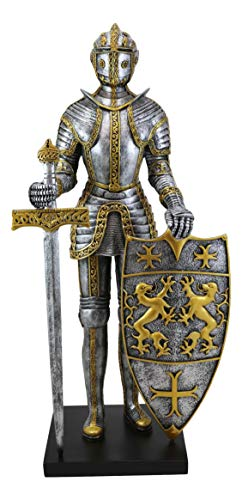 Ebros 21' Tall Large Medieval Royal Knight Guard with Long Sword and Dragon Lion Heraldry Shield Statue Castle Suit of Armor Resin Figurine European Historical Home Decor