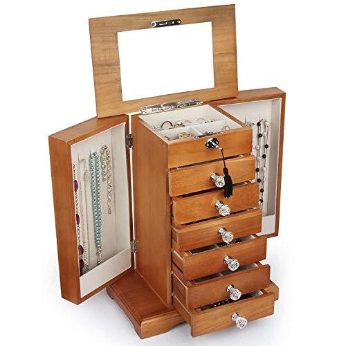 Kendal Wooden Jewelry Box Organizer Wood Armoire Cabinet Storage Box Locked with a Key WJC7AK