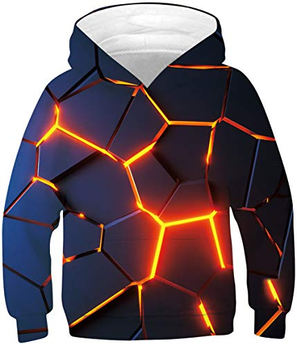 Boys Navy Blue Hoodies for Kids 3D Printed Red Fire Pullover Sweatshirts With Big Pocket 6 7 8 Years Old Little Girls Casual Sports Shirt Sweater Children Winter Hoody Clothes
