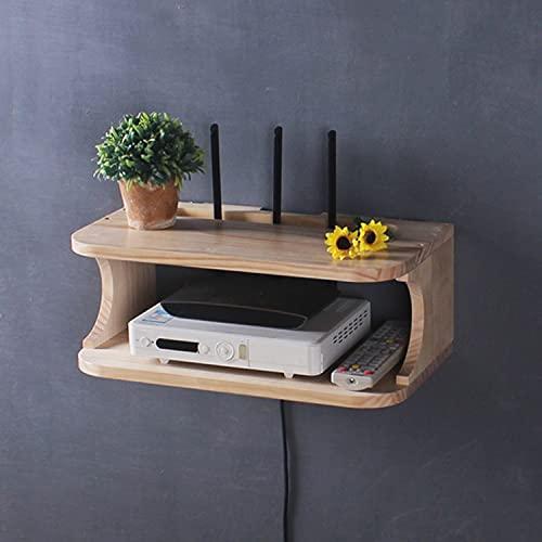 Holzwandregal, schwimmendes TV-Regal Wandkonsole an der Wand, WiFi-Fernbedienungs-Schreibtischorganisator, unter schwimmendem TV-Regal, wandmontierter WiFi-Router-Ständer für Zuhause(Mitte)