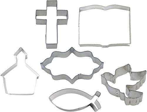 Christian Bible Study Cookie Cutter 6 Piece Set from The Cookie Cutter Shop - Cross, Dove, Church, Plaque, Bible, Christian Fish Cookie Cutters – Tin Plated Steel Cookie Cutters