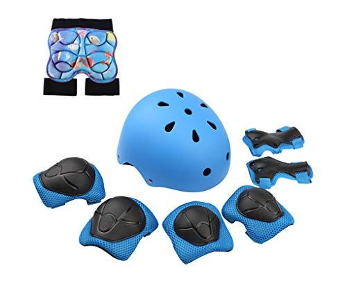 Yx-Outdoor - Juego de siete piezas, con casco, juego de casco de monopatín, apto para patinaje sobre ruedas, scooter, bicicleta infantil, juego de rodilleras ajustable, azul, M