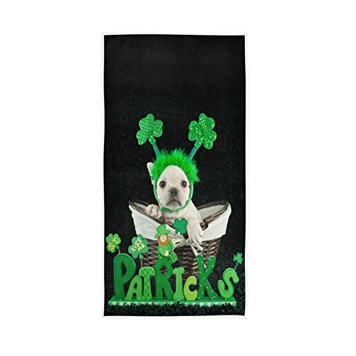Shamrock French Bulldog Soft Hand Towels 30x15,Decorative St. Patrick's Day Green Fingertip Kitchen Dish Towels Washcloth for Bathroom, Hotel,Gym and Spa