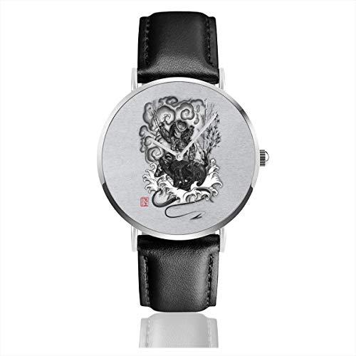 Unisex Business Casual Hunter and The Demon Japan Alien Vs Predator Uhren Quarz Leder Armbanduhr mit schwarzem Lederband für Männer Frauen Young Collection Geschenk