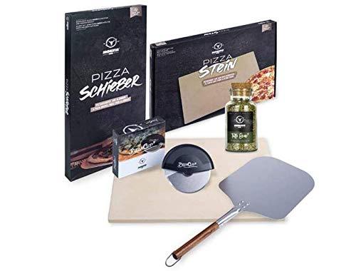 MOESTA-BBQ 10596 - Pizza Home-Kit für Küche/Backofen – Set 4.TLG: Pizza-Stein, Pizza-Rad, Pizza-Schieber, Pizza-Gewürz