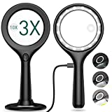 Rechargeable Magnifying Glass with Light, Kaome 3X 10X Magnified Glass 16 Dimmable LED Lighted Magnifying Glass for Reading, Handheld and Standing Magnifier for Exploring, Jewelry, Hobbies & Crafts