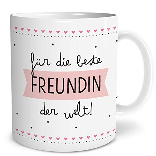 OWLBOOK Beste Freundin Große Kaffee-Tasse mit Spruch im Geschenkkarton Geschenke Geschenkideen für die Beste Freundin zum Geburtstag Weihnachten
