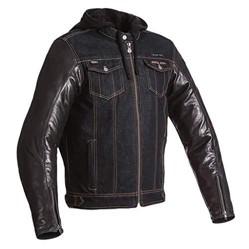 Mens Off-Road-Motorrad-echte Leder-Jacke Männer Black Top Racing Biker mit Hauben-Mantel Slim-Fit-Motorrad-Bomber Oberbekleidung,Black-L