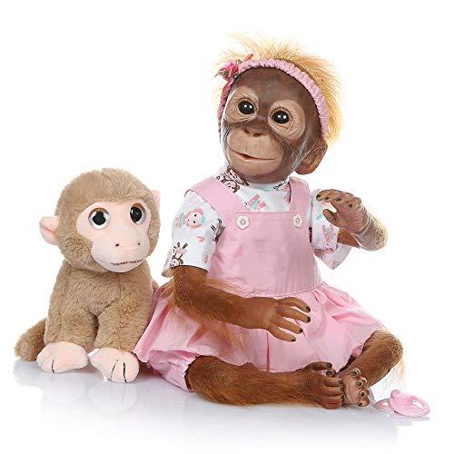 Pinky Reborn Baby Dolls 21Pulgadas Mono de Bebé Recién Nacido Hecho a Mano de Silicona Suave Vinilo Realista Reborn Doll Mejor Regalo para Niños Navidad (Girl)