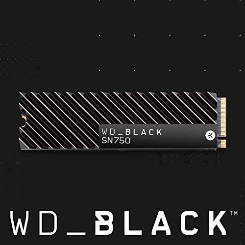 WD Black SN750 NVMe SSD interne Festplatte 1 TB mit Heatsink (Gaming SSD, 3470 MB/s Lesegeschwindigkeit, mit Kühlkörper, NVMe SSD-Performance, WD Black SSD Dashboard) schwarz