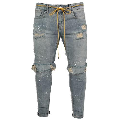 N\P Jeans de hombre Stretch Tobillo Zip Skinny Jeans
