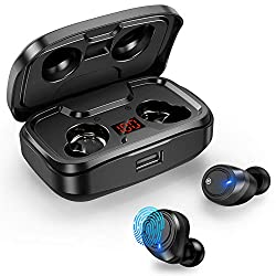 【HI-FI Stéréo】Les ecouteur Bluetooth sans fil vous fournissent un microphone Bluetooth V5.0 intégré, qui offre une stéréo HD de haute qualité. Vous pouvez appeler les autres clairement et profiter d'une musique fluide. Via les rappels vocaux et LED d...