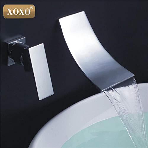 5151BuyWorld waterkraan voor badkamer, kleine waterval, wandkraan, badkamer, mengkraan, gepolijst, chroom, badkuipkraan 83017