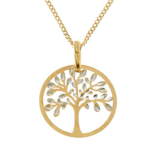 9ct Gold Tree of Life Pendant Necklace with 18' Chain and Jewellery Gift Box. Great gift for a woman on Christmas or as a Birthday Present