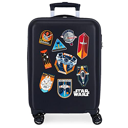 Star Wars Badges Valigia da cabina blu 38 x 55 x 20 cm rigida ABS chiusura a combinazione laterale 34 2 kg 4 ruote doppie bagaglio a mano