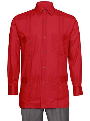 Gentlemens Collection Guayabera-Hemd für Herren, Leinenoptik, langärmelig, kubanisches Hemd - Rot - Klein