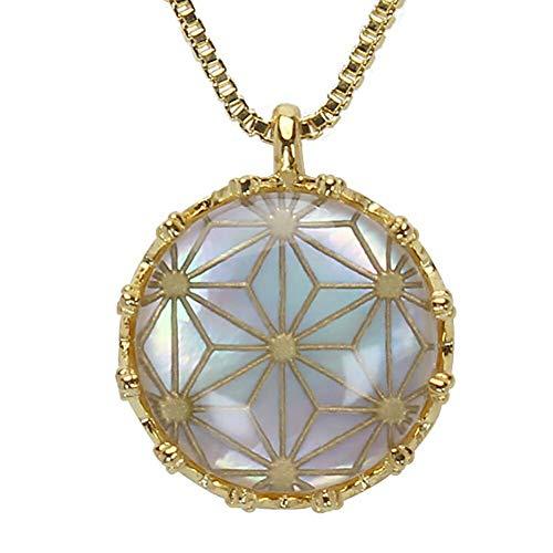 真珠の杜 水晶 ネックレス 白蝶貝 クォーツ シェル SV925 シルバー925 銀 麻の葉文様 金色 ペンダント メンズ 誕生石 4月 m-dpn658-691gps