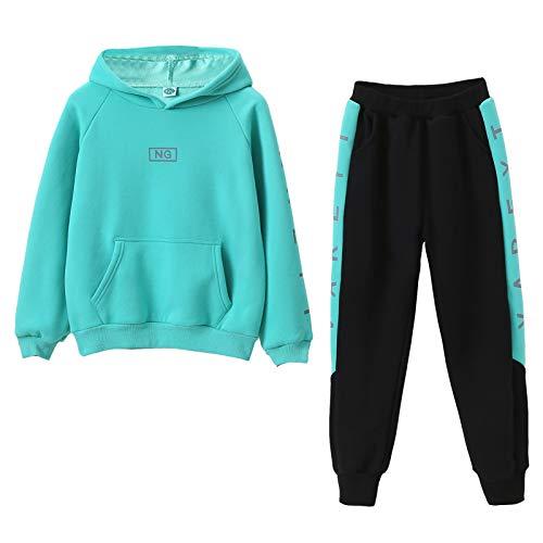 SXSHUN Kinder Mädchen 2tlg Trainingsanzug Sportanzug Jogginganzug Bekleidungsset Zweiteiler Outfit-Set Sweatshirt und Sporthose Buchstabe Streifen Motiv, Grün, 152-158(Label:160)