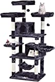 JISSBON MQ Large Cat Tree Cat Tower with Sisal Scratching Posts Plush Perches Condos Hammock, 67'' Cat Activity Centres Kittens Furniture Play House, Smoky Grey