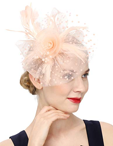 Fascinators Hat for Women Tea Party Headband Kentucky Derby Wedding Flower Cocktail Mesh Feathers Hair Clip(1-Champagne)