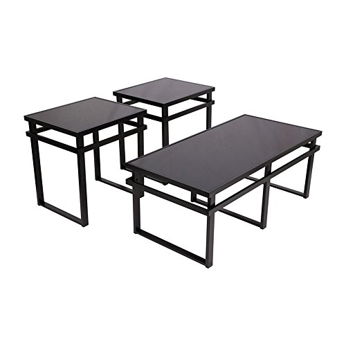 Signature Design by Ashley - Laney Glass Top 3-Piece Occasional Table Set, Black Finish