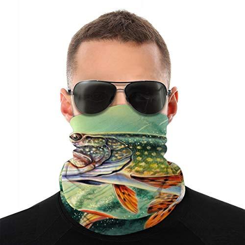 QSMX Pike Fish Fishing Lure Headwear,Head Wrap, Neck Gaiter, Headband, Fishing Mask, Tube Mask, Face Bandana Mask and Sport Scarf 12 in 1 Sweatband for Camping, Hiking, Running