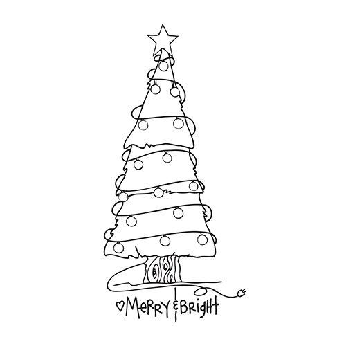 Spellbinders Merry en Bright boom stempel, meerkleurig