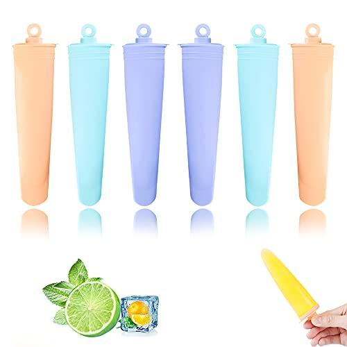 Eisformen Silikon,6 Stück Eisformen mit Deckel,Wiederverwendbare Stieleisformer,Ice Pop Maker Formen Set - BPA Frei - Perfekt für Kinder und Erwachsene