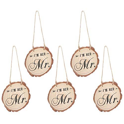 ABOOFAN 5 Piezas de Etiquetas Colgantes de Madera para Boda Mr Mrs Sign Discos de Troncos Redondos Mr And Mrs Colgante de Madera para La Fiesta de Aniversario de San Valentín Decoración