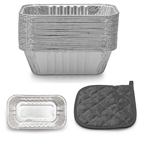 """Cebia 50 Pack Disposable Mini Loaf Pans - 6"""" x 3.5"""" x 2"""" Disposable 1 Lb Aluminum Foil Baking Pans for Breads, Cakes, Pies - Complete with Heat Resistant Pot Holder"""