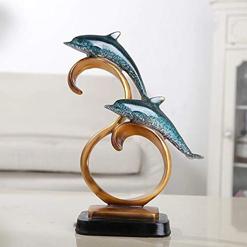 DAMAI STORE Artes de la Resina de los Ornamentos Europeos Delfines Sala de Estar Creativa de Estudio Entrada Regalos mobiliario tablilla dormitorios casa de 9.5 * 22 * 27cm (Color : Blue)